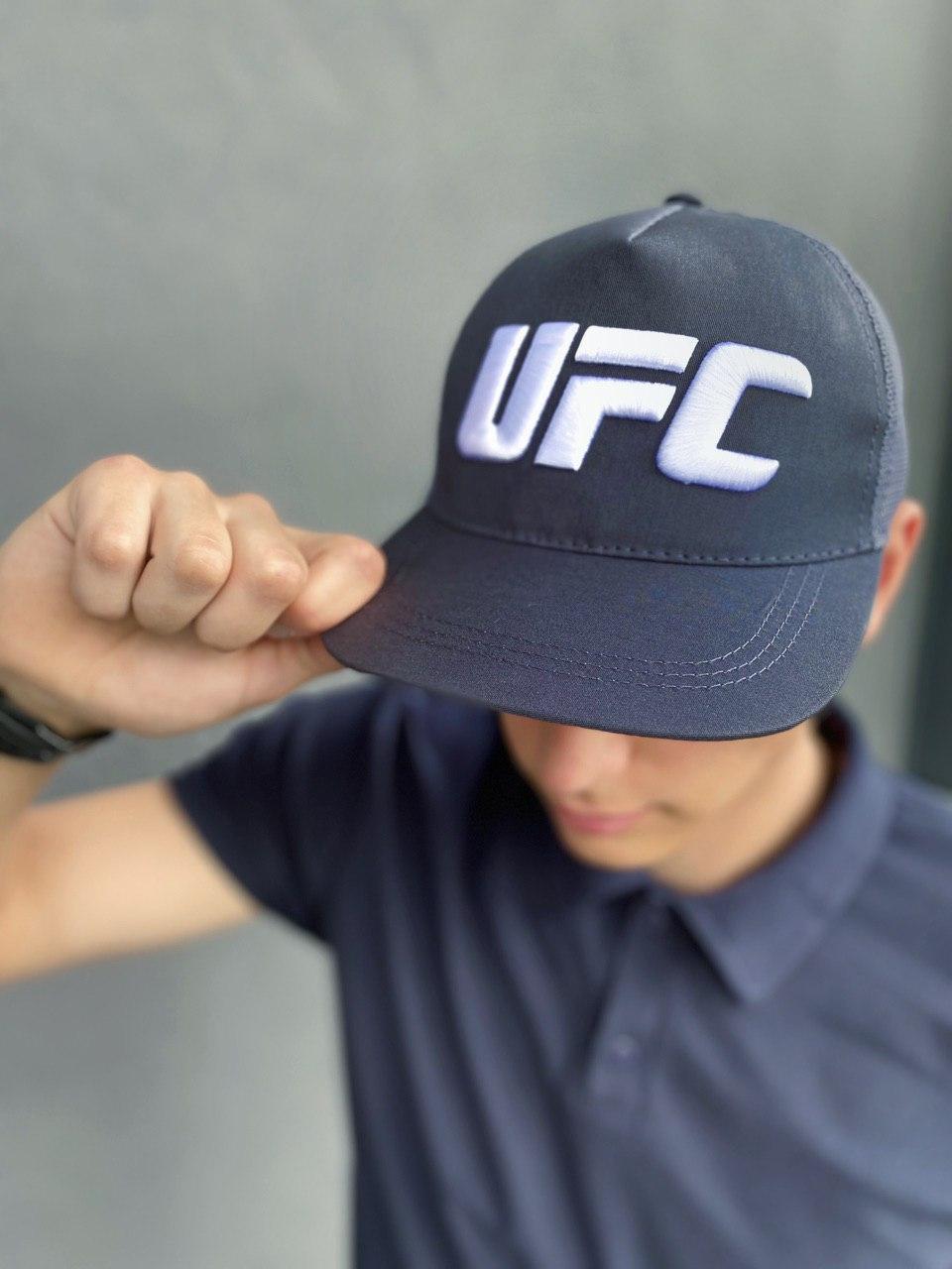 Кепка UFC Reebok чоловіча   жіноча рібок сіра big white logo