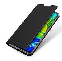 Кожаный чехол книжка Duc Ducis для Xiaomi Redmi Note 9 с визитницей (Черный)