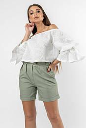 Оригинальная блуза–топ из прошвы Agata (42–52р) в расцветках
