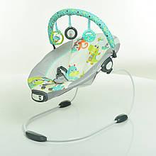 Детский напольный музыкальный шезлонг-баунсер Mastela серо-зеленый. кресло качалка для детей