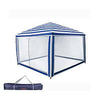 Туристическая палатка, шатер, садовый Coleman, 3х3 метра, цвет бело-синий + Подарок