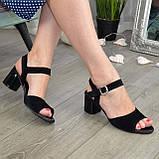 Босоножки замшевые черные женские на устойчивом каблуке, фото 3