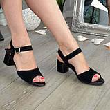 Босоножки замшевые черные женские на устойчивом каблуке, фото 2