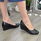 """Туфли женские классические на невысокой устойчивой платформе, натуральная кожа и кожа """"питон"""", фото 2"""