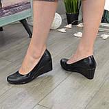 """Туфли женские классические на невысокой устойчивой платформе, натуральная кожа и кожа """"питон"""", фото 3"""
