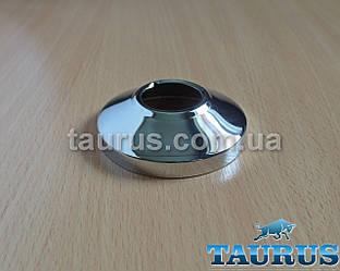 """Круглий об'ємний декоративний фланець D64 / висота 18 мм хром, внутрішній розмір 3/4"""" (d25 мм)"""