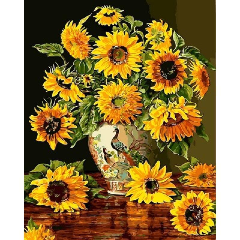 Картина за номерами Соняшники у вазі, 40x50 см Babylon Premium