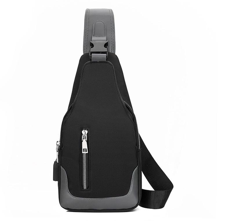 Повседневная сумка-рюкзак мужская на одно плечо черного цвета с разьемом USB.