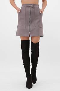 Женская короткая замшевая юбка на замке (1076 fup)