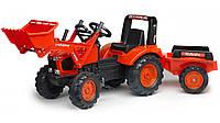Детский педальный трактор с прицепом и ковшом Falk 2060AM KUBOTA M135GX 3-7 лет (дитячий педальний трактор), фото 1