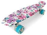 Скейт Penny Board, с широкими светящимися колесами Пенни борд, детский , от 4 лет, расцветка Цветы, фото 4