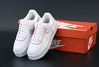 Женские кроссовки Nike Air Force 1 Low Shadow White (Найк Аир Форс Шедоу белые низкие кожаные)