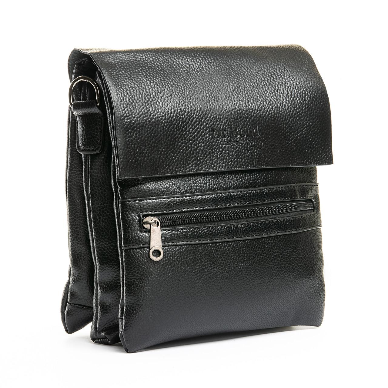 Шкіряна чоловіча сумка через плече / Мужская кожаная сумка через плечо DR. BOND 315-3 black
