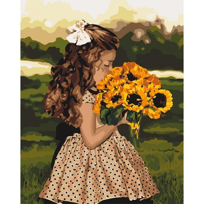 Картина по номерам Девочка с подсолнухами, 40x50 см Идейка