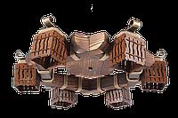 Люстра в стиле Лофт потолочная из дерева на 6 плафонов