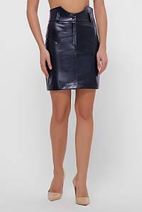 Женская кожаная юбка с высокой посадкой (1072 fup)