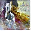 Интерьерная картина для декора дома. Картина с лошадью и девушкой.