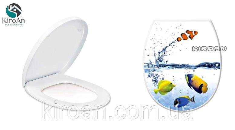 """Сиденье для унитаза с крышкой (пластик) """"Рыбки"""" Elif plastik , Турция 36,5х45 см, фото 2"""