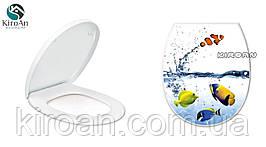 """Сиденье для унитаза с крышкой (пластик) """"Рыбки"""" Elif plastik , Турция 36,5х45 см"""