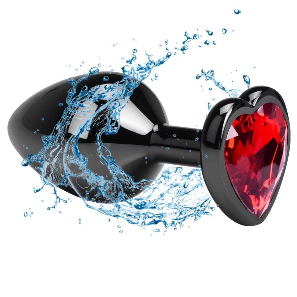 Анальный плуг пробка S с красным камнем в форме сердца в чехле 2.8*7.5 см Металлическая