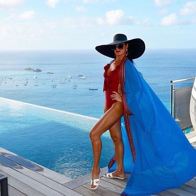 Платье-туника пляжная женская с манжетами, синяя