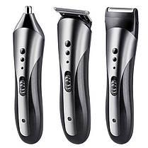 Электрическая машинка для стрижки волос 3 в 1 Kemei KM-1407 триммер портативный беспроводной, фото 3