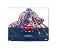 Карандаши цветные Derwent Coloursoft 24шт в метал.пенале (5028252188937)
