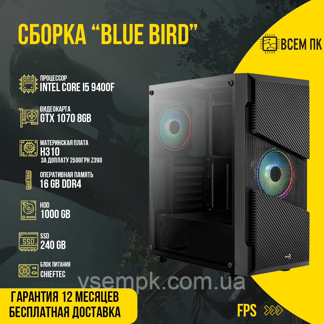 BLUE BIRD (i5 9400F / GTX 1070 8GB / 16GB DDR4 / SSD 240 / HDD 1000)