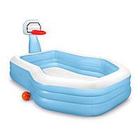 Детский надувной бассейн c баскетбольным кольцом Intex