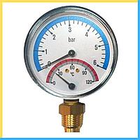 Термоманометр нижнее подключение 1/2 80мм. 120град. (6 бар)
