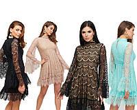 Летнее женское платье из полупрозрачного кружева /KR-Росси, разные цвета, S-М, M-L