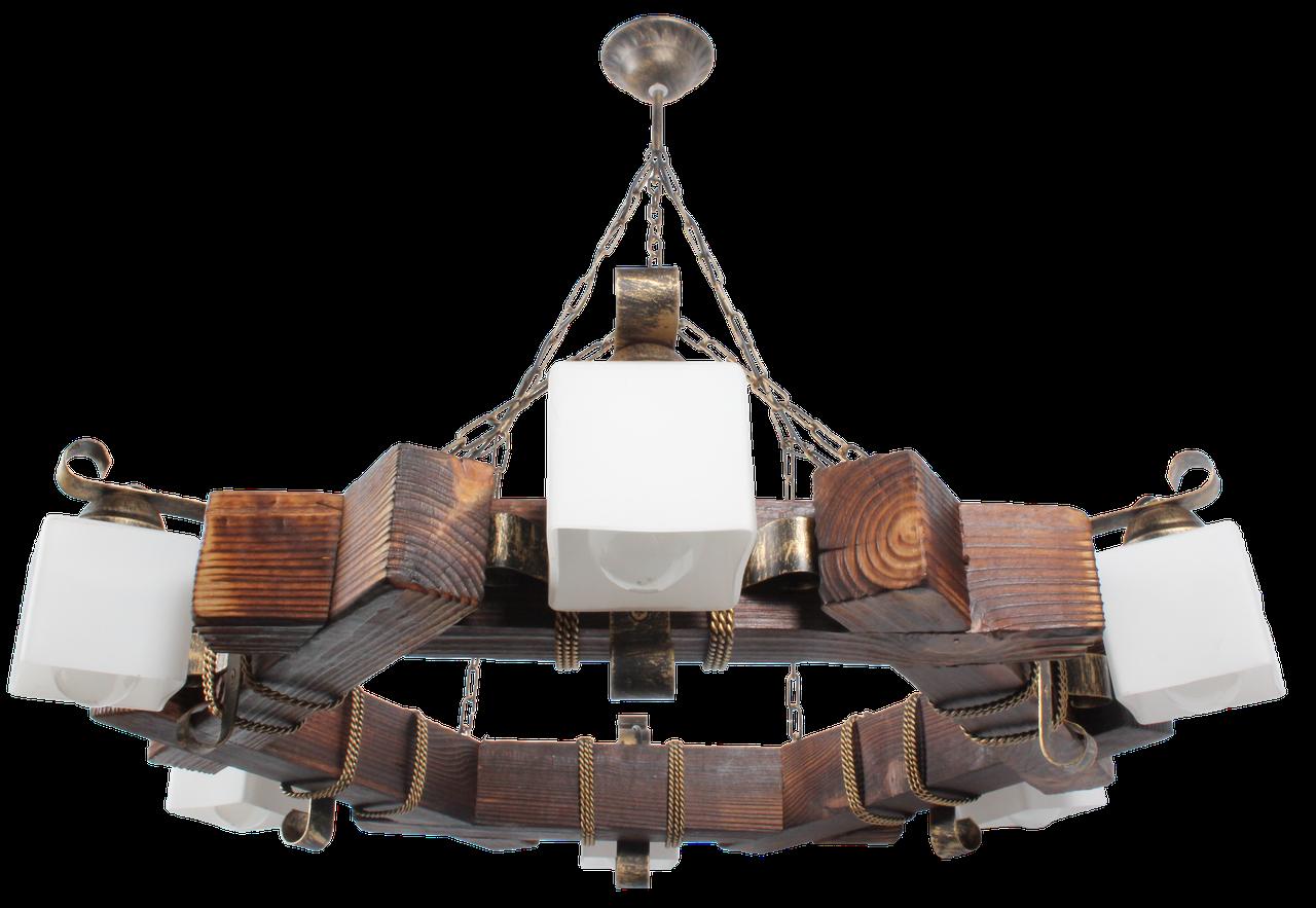 Люстра деревянная шестигранник кованная на 6 плафонов