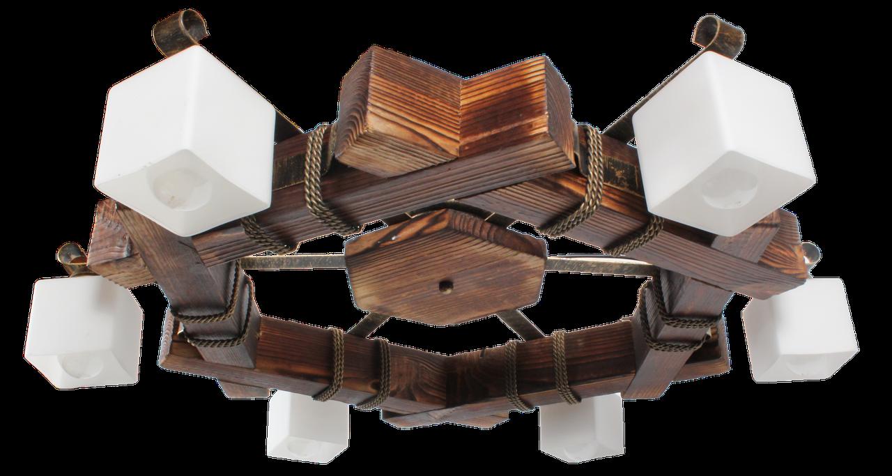 Люстра потолочная деревянная шестигранник кованная на 6 плафонов