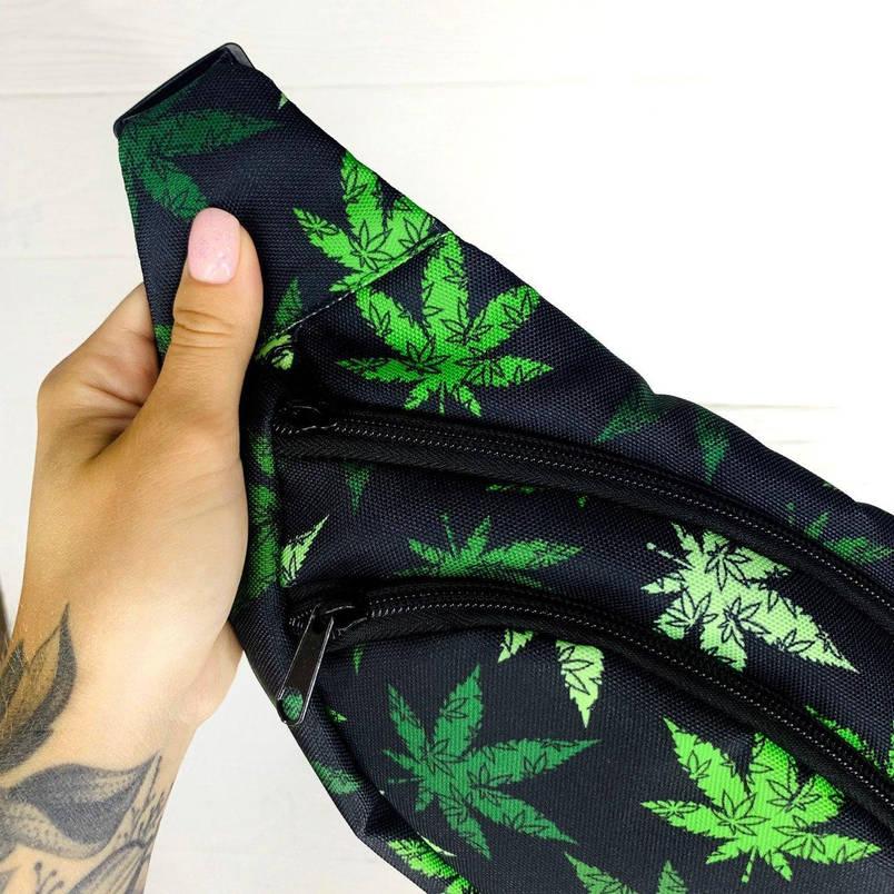 Бананка гербарий Мужская | Женская | Детская листики var 2 зеленая сумка на пояс, фото 2