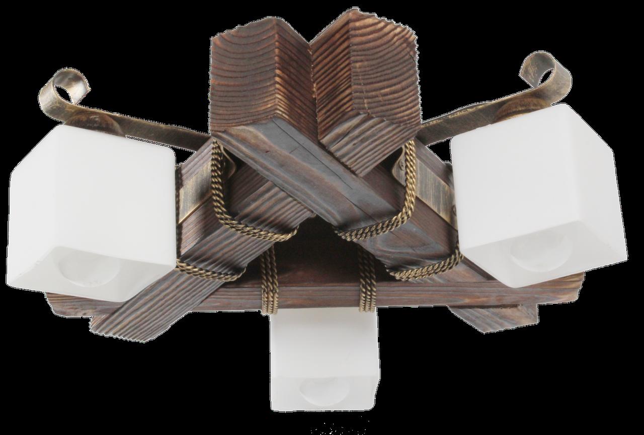 Люстра из натурального дерева потолочная треугольная из дерева на 3 плафона 760313пот