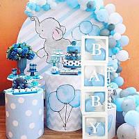 """Набор коробок для воздушных шаров """"LOVE"""". Цвет: Голубой. Размер:30см*30см."""