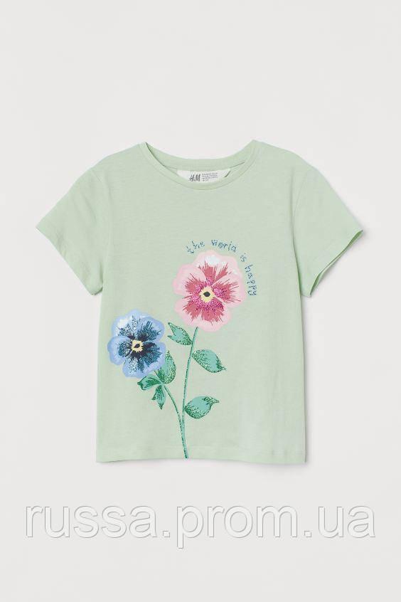 Трикотажная детская футболочка с цветочками НМ для девочки