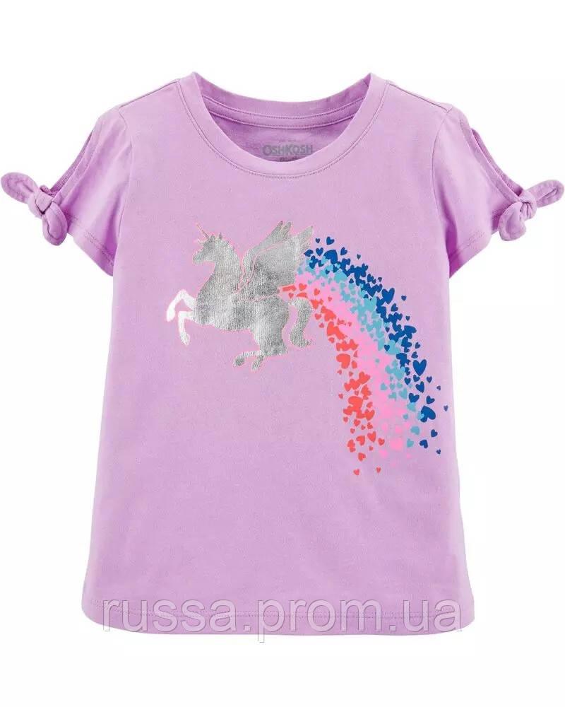 Трикотажная летняя футболка для девочки Единорожек ОшКош