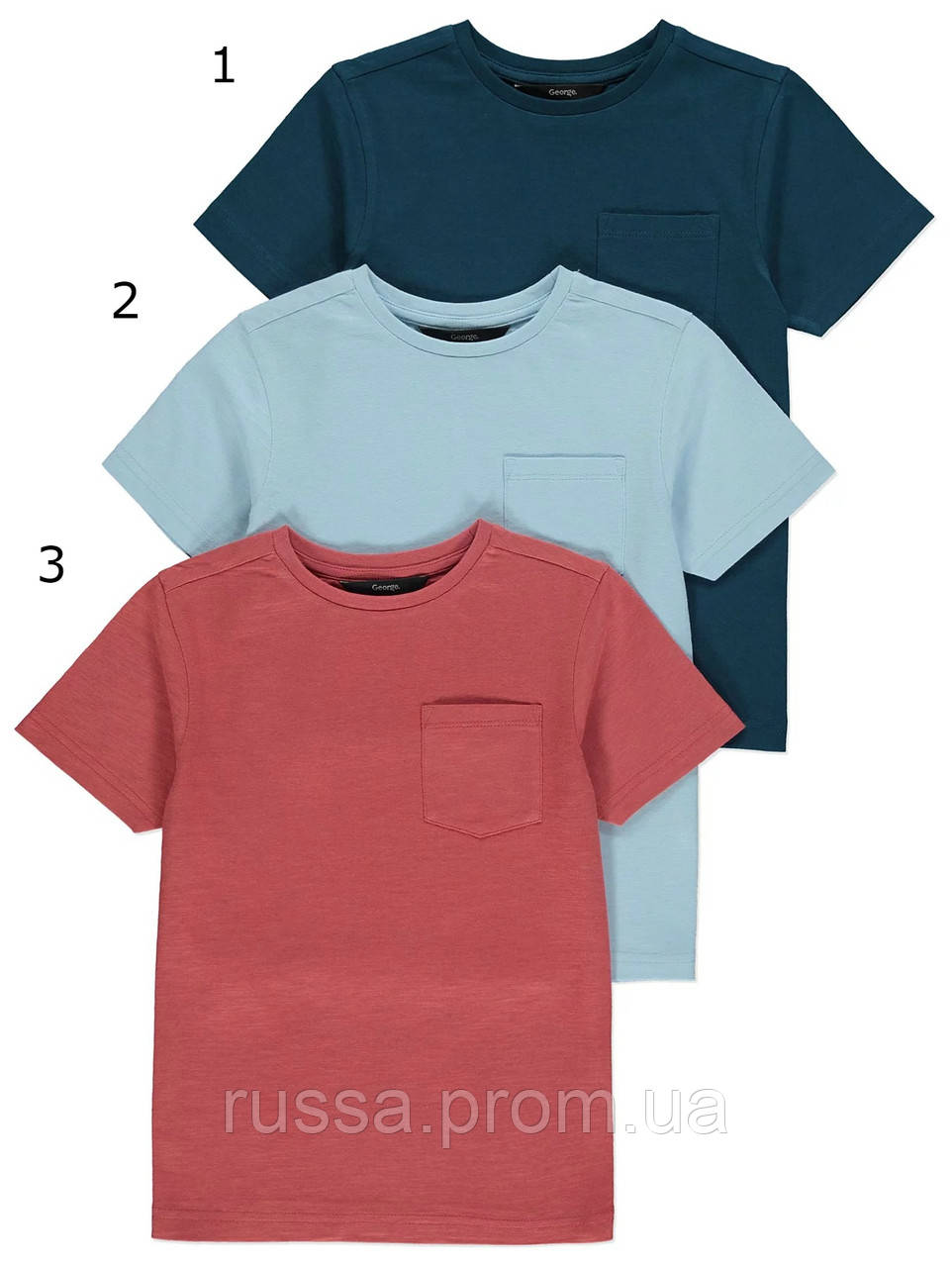 Детские летние футболочки с карманчиками Джордж для мальчика (поштучно)