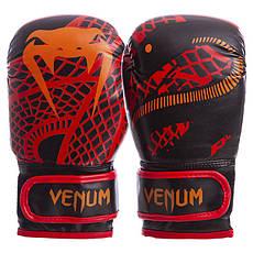 Перчатки боксерские FLEX на липучке VENUM SNAKER 4oz черно-красные VL-5795-R, фото 3