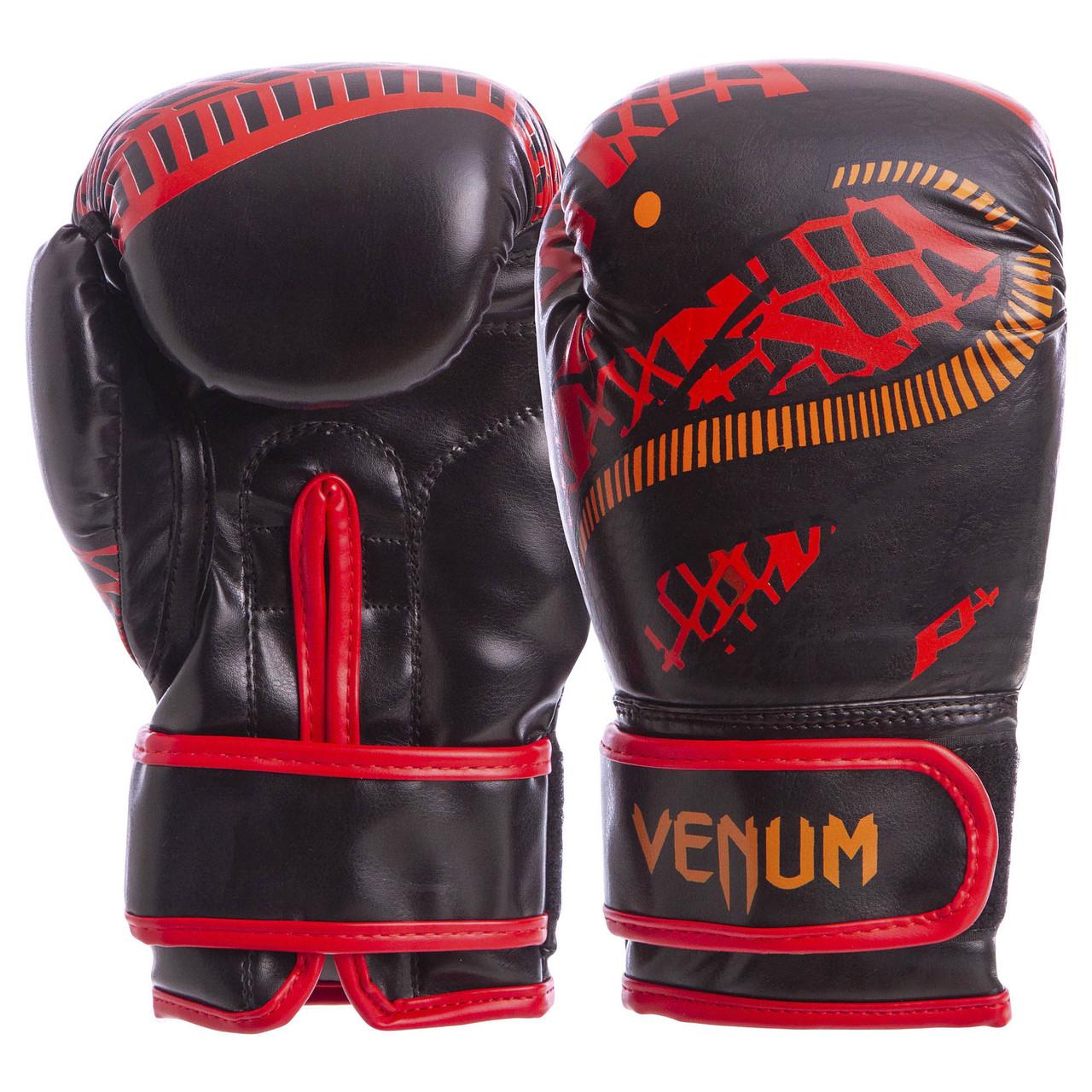 Перчатки боксерские FLEX на липучке VENUM SNAKER 4oz черно-красные VL-5795-R