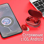 Беспроводные наушники блютуз гарнитура наушники Bluetooth 5.0 Wi-pods M8 RED с зарядным чехлом-кейсом, фото 7
