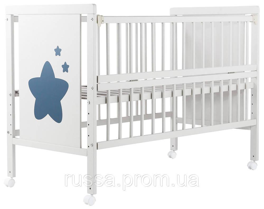 Кровать Babyroom Звездочка Z-01 откидной бок, колеса  бук белый
