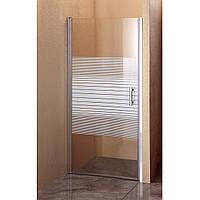 Душевая дверь Sansa SH-706, профиль brushed, стекло 6 мм прозрачное-lines, 90 х 185 см