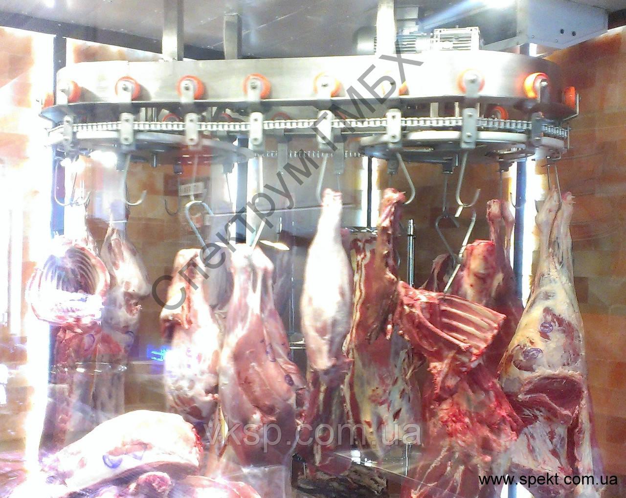 Конвейер роликовый подвесной для демонстрации мяса в магазинах