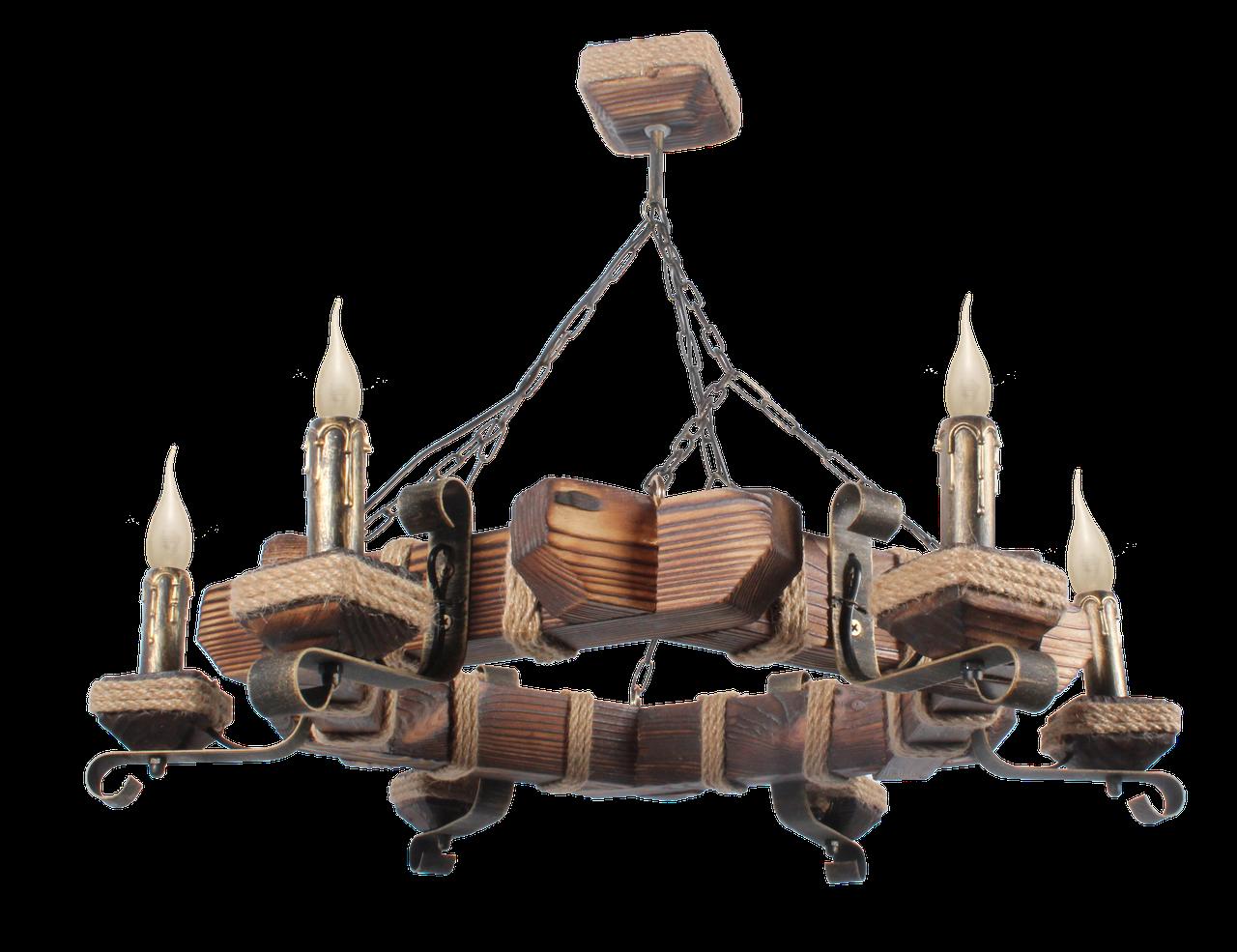 Шестигранная деревянная люстра на цепи на 6 свечей
