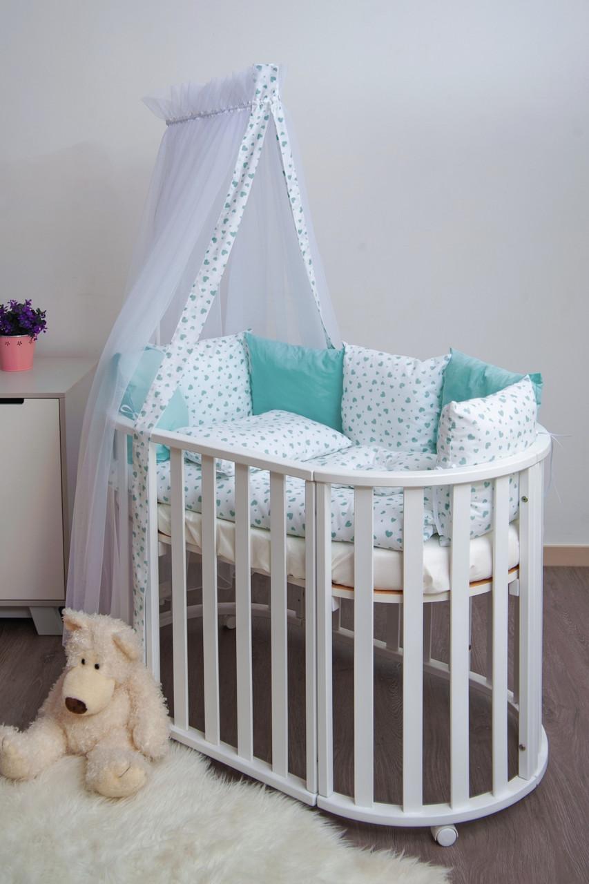 Детская постель Twins Dolce Сердечки 4064-D-402 mint 8 эл