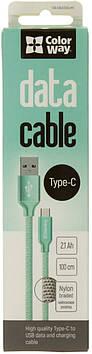 Кабель з'єднання єднання (USB Type-C 2,1 А) Colorway м'яка ятний 1м №CW-CBUC003-MT