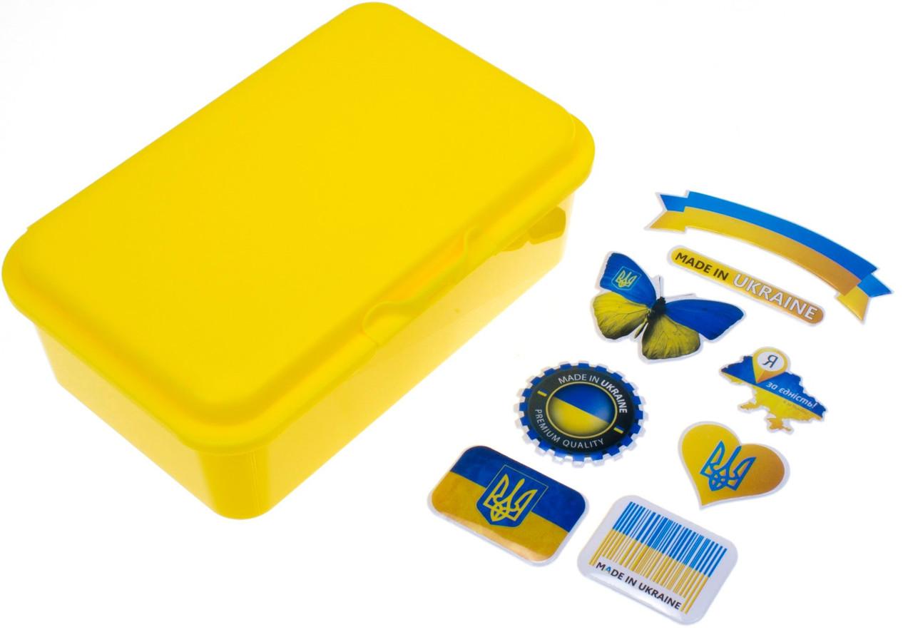 "Ланч бокс пласт. ""Economix"" Snack 750мл жовтий+серія наліпок Україна №E98362"
