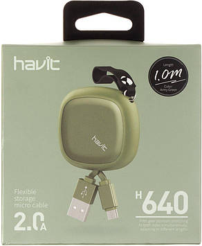 Кабель з'єднання єднання Flexible Micro USB cable Havit HV-H640 green №4360(100)